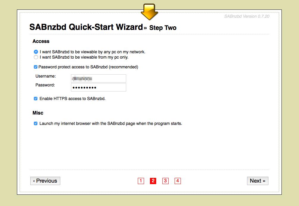 SABnzbd - define your account credentials