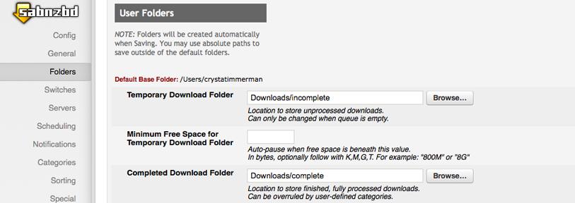 SABnzbd - Downloads folder