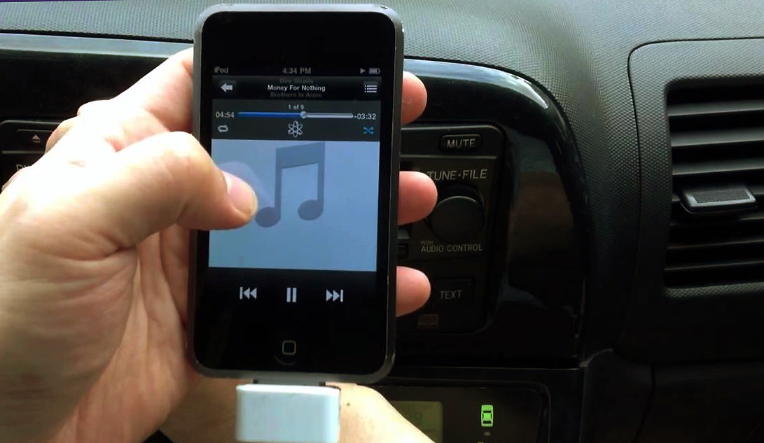 iPod touch connected to car stereo
