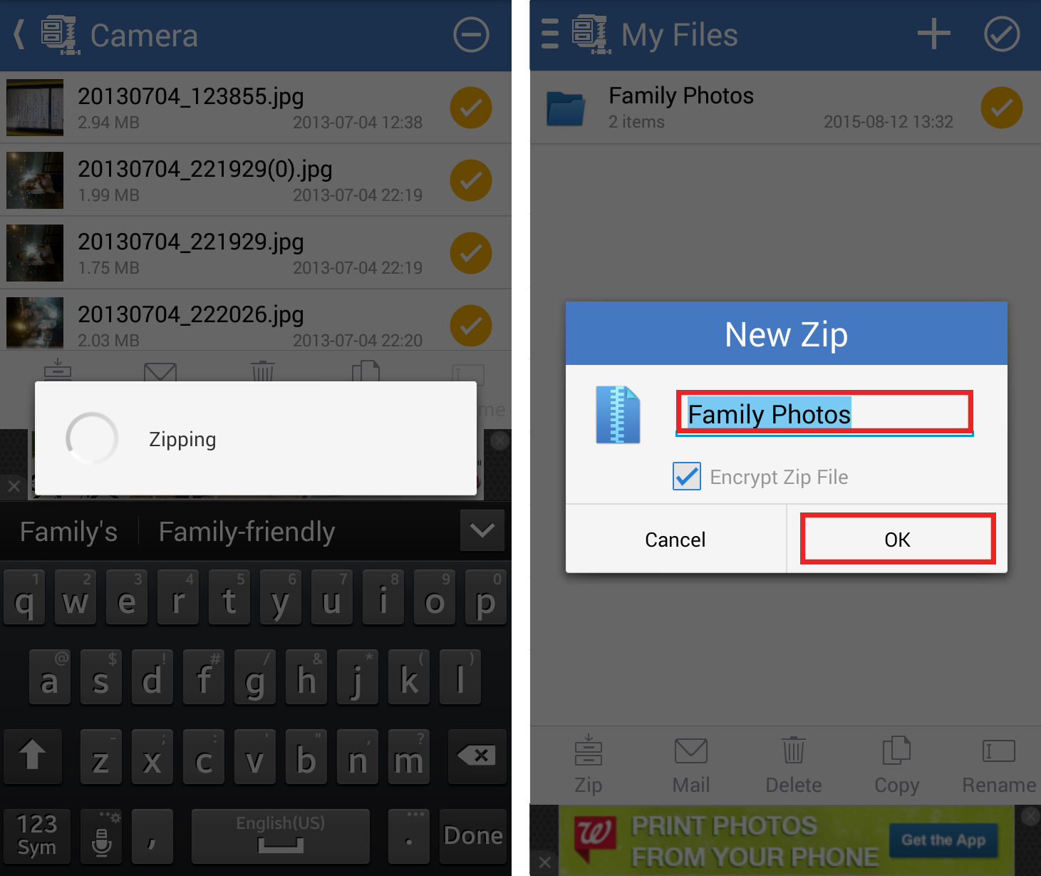 Steps 4 and 5 in creating ZIP files on Android