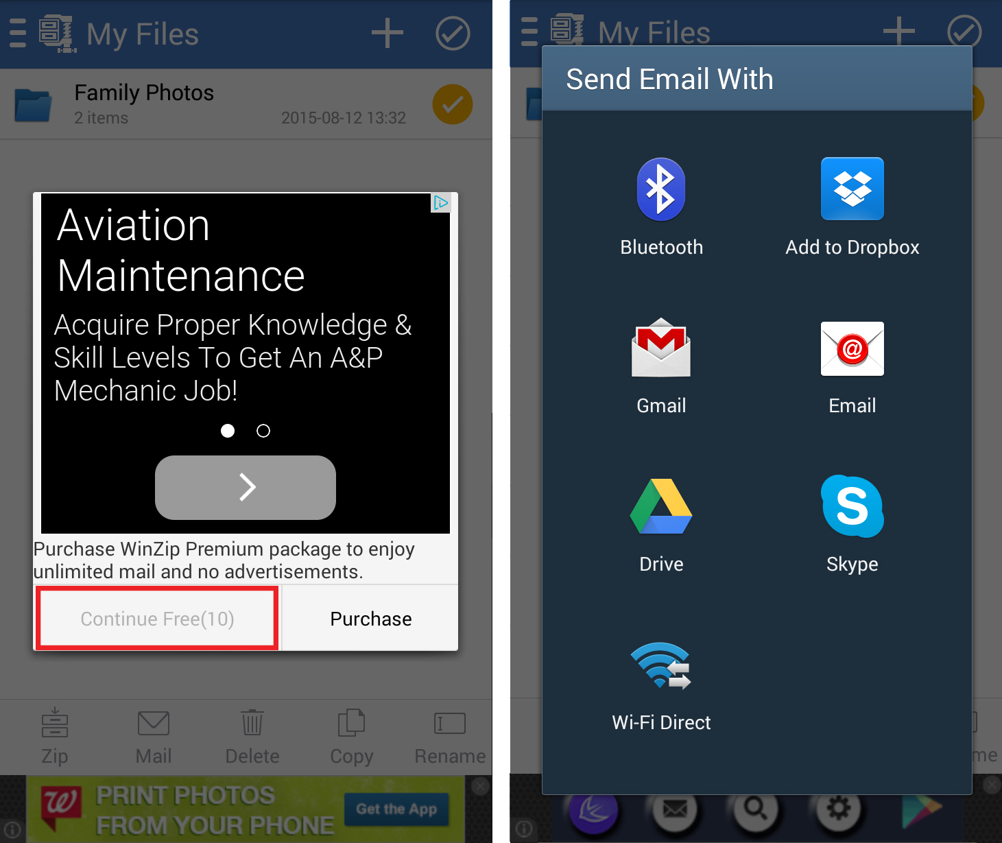Steps 6 and 7 in creating ZIP files on Android