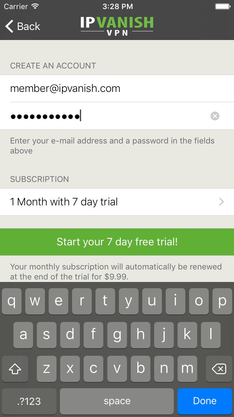 IPVanish sign up screen