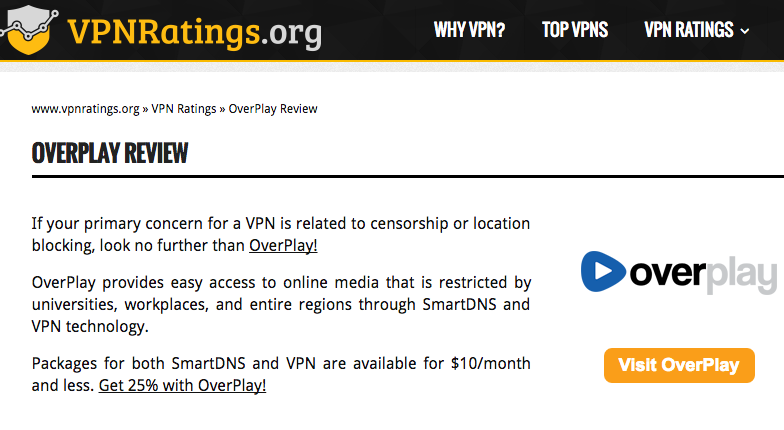 VPNRatings OverPlay VPN Review