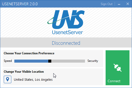 UsenetServer VPN App Connecting